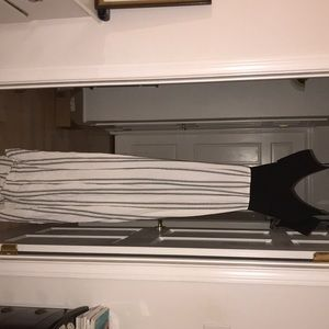 Long striped black and white maxi dress